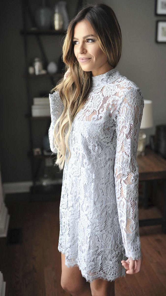 Grey Lace Overlay Dress - Dottie Couture Boutique