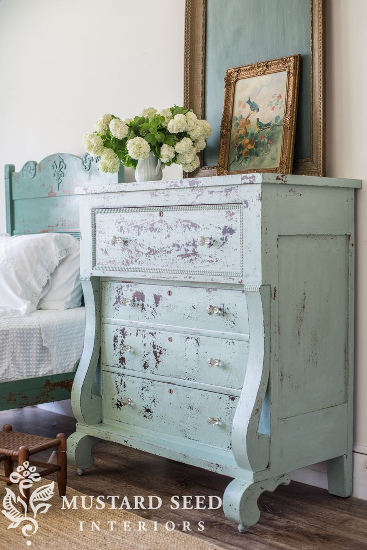 miss mustard seed   bespoke chippy empire dresser   miss mustard seed gives an antique empire dresser a makeover with Miss Mustard Seed's Milk Paint in Eulalie's Sky and Layla's Mint finished with Tough Coat