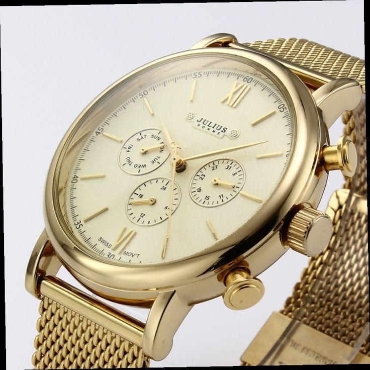 42.90$  Watch here - http://aliwc4.worldwells.pw/go.php?t=32616279458 - Top Brand Julius Men Sport Quartz Watches Stainless Steel Japan Movement Men Casual Business Gold Wristwatch Relojes hombre 2015 42.90$