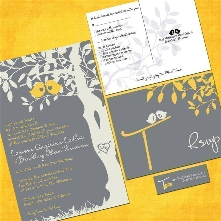 Lovely Gray And Yellow Love Birds Wedding Invitation Sample Packet   Custom Love  Birdies On Etsy,