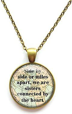Sister Necklace Side By Side or Miles Apart We Are Sisters Connected By the Heart Chain Pendant Necklace