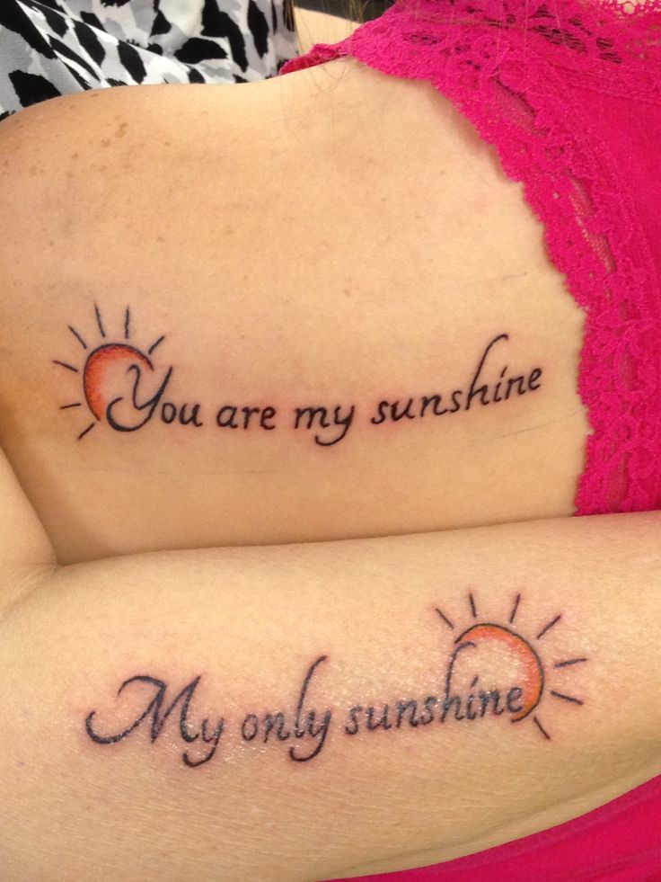 This was the song I would always sing to my granddaughter when she was little.... Now we share it as a tattoo.  She got the 1st line on her shoulder & I got the 2nd line on my arm. Thanks to Aaron Giles at Sinful Ink in Ocala Fl. #tattoo #sunshine
