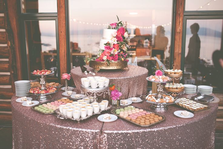 Now this is a dessert table!!! Love how the Blush Sequin tablecloths draw you in and the mixture of height! Once Upon A Time Events
