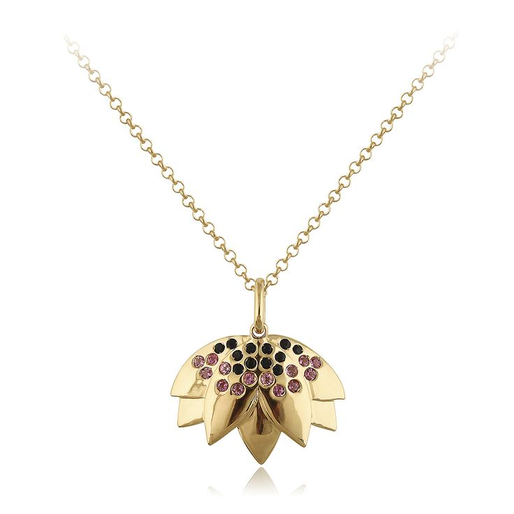 Lotus Necklace. Glossy 14 karat yellow gold with 12 faceted black ony - 0.18 carat and 14 faceted pink tourmaline - 0.21 carat.