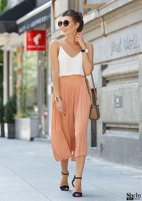 The-fashion-alba: Elastic Waist Pleated Chiffon Orange Pant