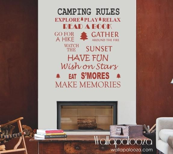 Cottage wall art - Camping rules wall sticker - Cottage Wall decal