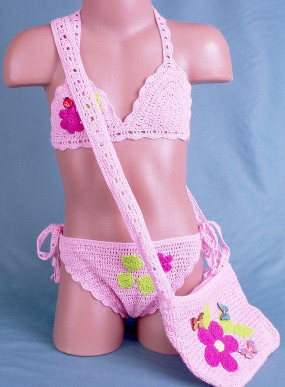 Crochet Top Bikini Bademode Badeanzug gestrickt Festival Top Handtasche für kleine Mädchen Kinder Bikini Beachwear Beach Accessoire Mädchen Geschenk   – Products