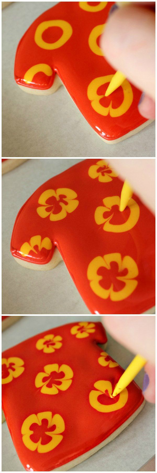 Hawaiian Shirt Cookies - these are really too beautiful to eat - she puts a collar buttons, pockets on it!