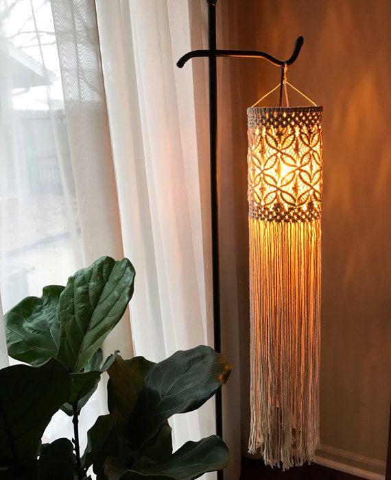 Macrame moderno Boho linterna / móvil / colgando de la pared hecho por encargo