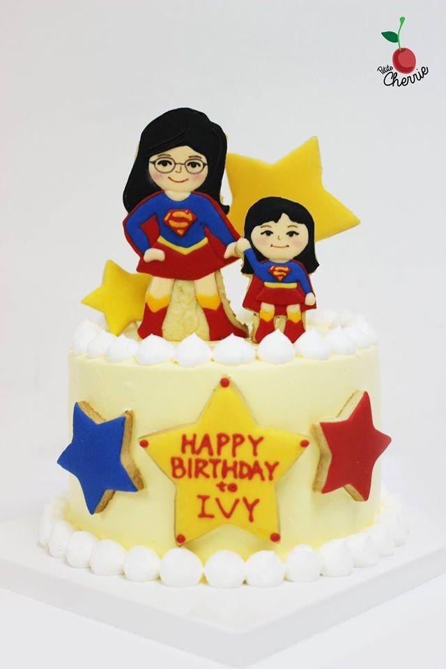 Supermum & Supergirl Cake Icing cookies