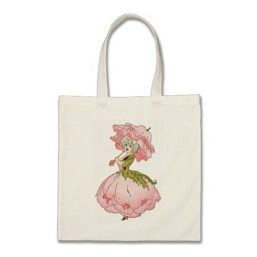 Pink Peony Lady Budget Tote Bag - #vintagewishes #windywinters #zazzle
