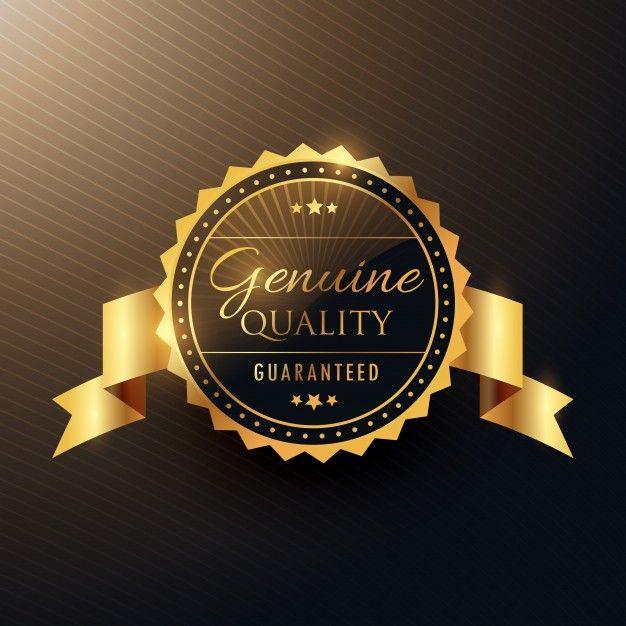 подлинной награды качества золотой дизайн этикетки значок с лентой Бесплатные векторы