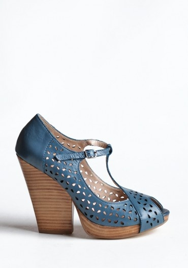 Blue perforated strappy heels