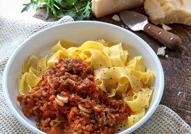 Linsbolognese med pasta