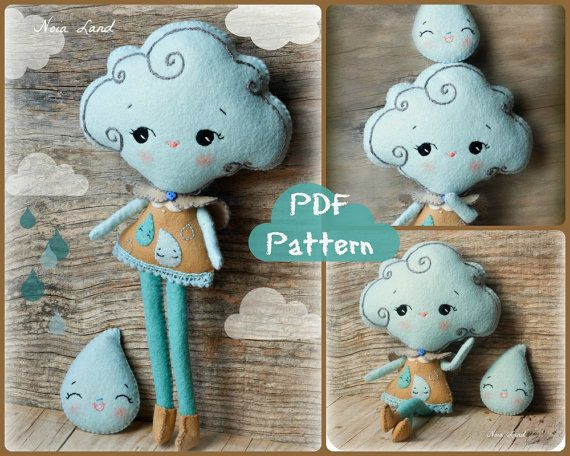 #DIY #PDF Pattern #Cloud girl and rain drop brooch | Noialand via Etsy