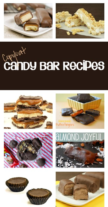 The Top CopyCat Candy Bar Recipes all in 1 spot...kit kat, Snickers, Butterfinger, Twix, Payday, Reese's, Almond Joy & More...