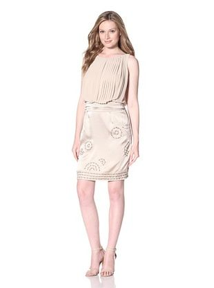 Vince Camuto Women's Pleated Bodice Dress with Satin Skirt