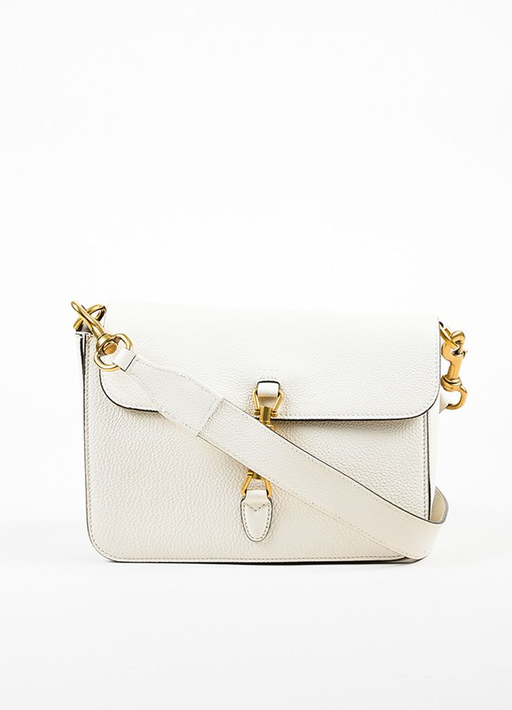 "Gucci Cream Soft Grain Leather ""Jackie"" Removable Strap Shoulder Messenger Bag"