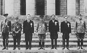 Greater East Asia Conference in November 1943, Participants Left to right: Ba Maw, Zhang Jinghui, Wang Jingwei, Hideki Tōjō, Wan Waithayakon, José P. Laurel, Subhas Chandra Bose