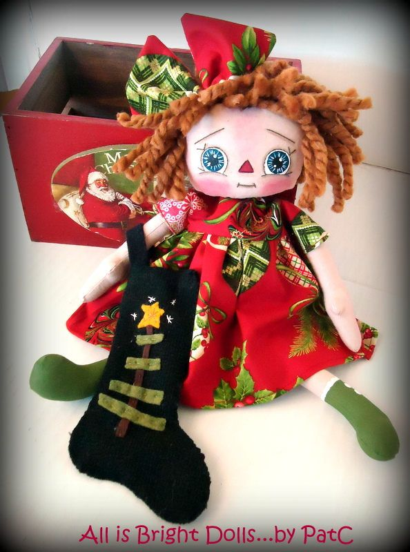 Primitive Christmas Annie, Raggedy Annie, Rag Doll, Christmas Stocking, Country Prim Decor, Handpainted doll, 11 inch doll, whimsical doll by Allisbright on Etsy