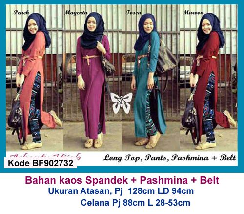Baju Gamis Modern Terbaru - Detail produk model Setelan baju gamis remaja 732: Bahan : Kaos Spandek Kode : BF902732 Ukuran : Atasan, Panjang 128cm, Lingkar dada 94cm Ukuran : Celana