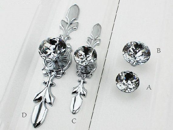Glass Dresser Knob Pull Crystal Drawer Knobs Pulls Handle Silver Chrome Clear Rhinestone Kitchen Cabinet Door Handle Back Plate Bling Blings