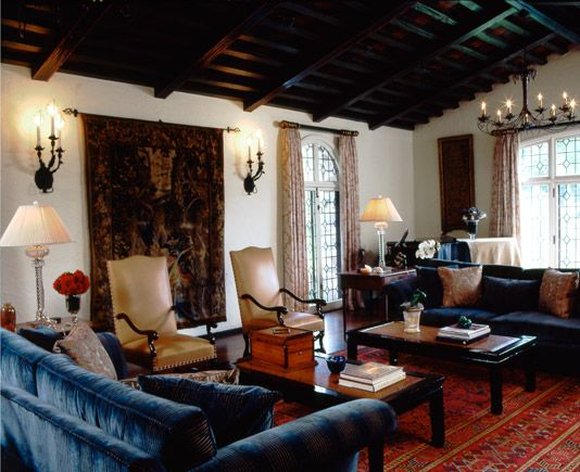 Spanish Colonial Interiors / blue velvet couches + dark wood tables, and that ceiling!!! <3