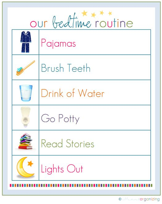 Instead of going through the monotonous task of asking your kids whether or not they've completed all of the steps of their bedtime routines, print and display this cute checklist, and get them into the habit of running through it on their own. Source: IHeart Organizing