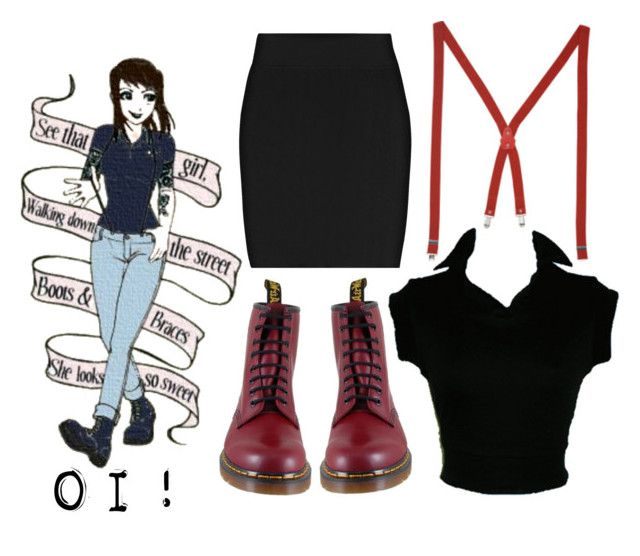 """""""Skingrrl"""" by mntanabrwn ❤ liked on Polyvore featuring Bernie Dexter, Dr. Martens, Pringle of Scotland, docs, ox blood, skinhead, girl, black and red"""