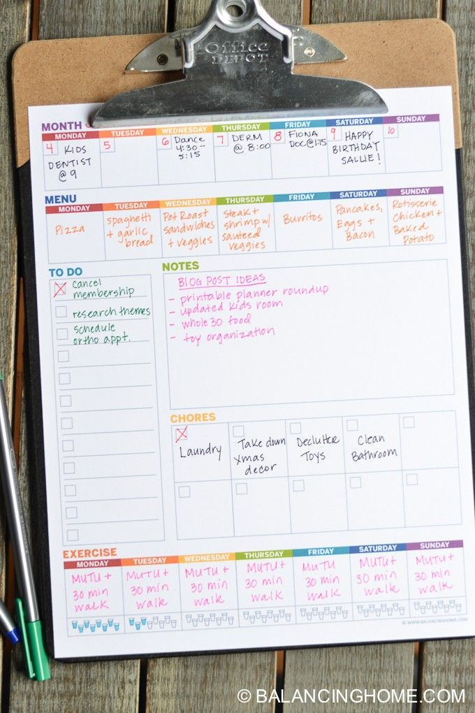 Weekly Planner Template Printable - Balancing Home