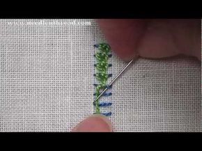 I ❤ embroidery . . . Embroidery Video Tutorial: Raised Chain Stitch Band. The raised chain stitch band is a composite hand embroidery stitch, made up of two steps: first, you create a line of foundation stitches, which are just parallel straight stitches, and then you work the chain stitch over that line of foundation stitches to create a textured line of embroidery.