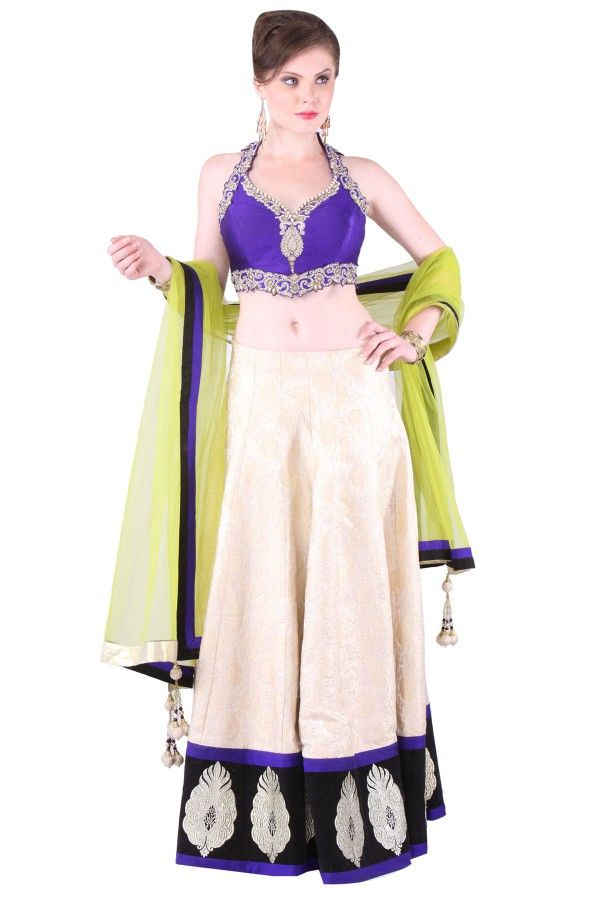 Gold and Blue Silk Lehenga Choli  http://www.shadesandyou.com/product/gold-and-blue-silk-lehnga-choli/  #DressLehenga #BridalLehengaCholi