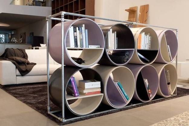 Recycling plastic or metal pipes for modern furniture offer creative design ideas that allow to experiment and decorate home interiors with interesting, original and unique furniture pieces