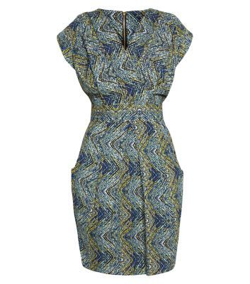 Closet Blue Zig Zag Polka Dot Print Tie Back Dress