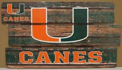 """MIAMI HURRICANES CANES LOGO WOOD SIGN 14""""X25'' BRAND NEW WINCRAFT"""