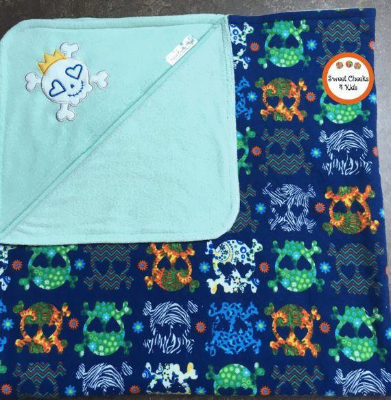 Large Baby Towel with Skull Applique Sugar Skulls Kids