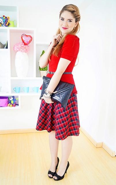 Peplum top over a-line skirt