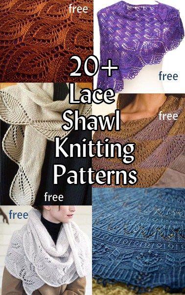 Lace Shawl Knitting Patterns, many free patterns at http://intheloopknitting.com/lace-shawl-and-wrap-knitting-patterns/