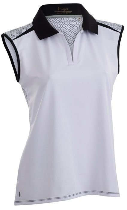 White Nancy Lopez Ladies & Plus Size Favor Sleeveless Golf Polo Shirt available at #lorisgolfshoppe