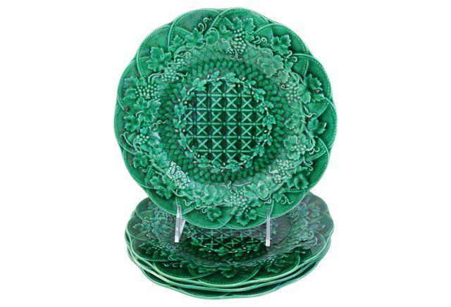 Wedgwood Majolica Green Plates, S/4