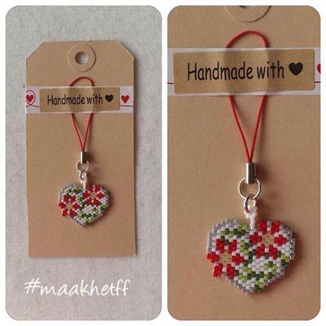 Hanger/charm groot bloemhart/heart with flowers. Gemaakt van Miyuki delicas…