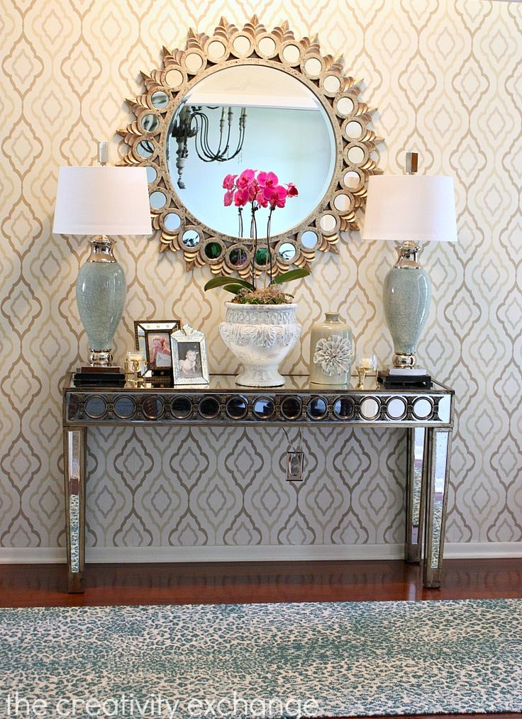 "Entryway accent wall papered with ""Diva"" Pattern (ND7083). http://totalwallcovering.com/p56346/inspired-elegance.aspx"