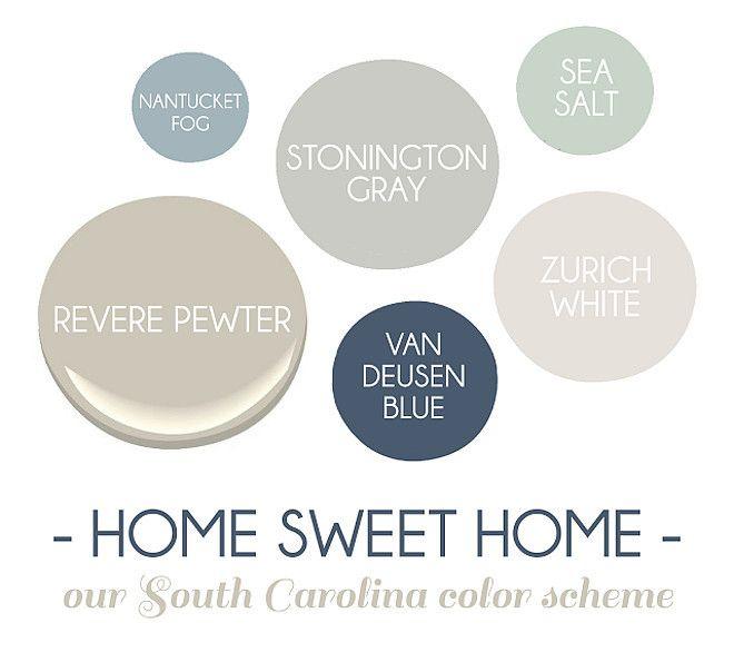 New paint colors for the modern home Benjamin Moore Sea Salt, Benjamin Moore Van Deusen Blue, Benjamin Moore Zurich White.