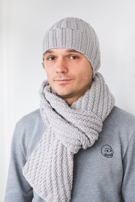 fe2bec5971f CUSTOM Color Mens Winter Set Wool Hat Scarf for Man gift for