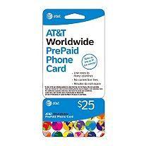 AT&T Worldwide PrePaid Phone Card - $25