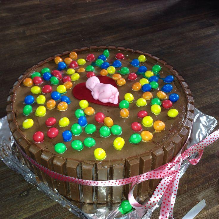 Chocolade-bom! Taart geboorteborrel
