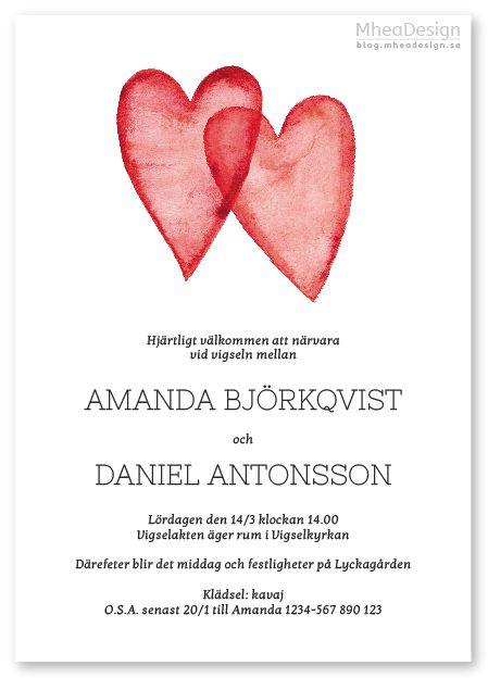 Bröllopsinbjudan med röda hjärtan målade i akvarell