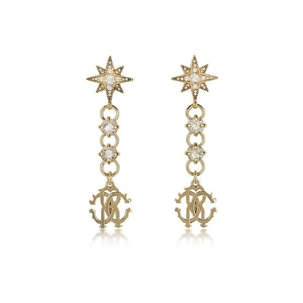 Roberto Cavalli Earrings Icon Golden Star Earrings w/Crystals ($210) ❤ liked on Polyvore featuring jewelry, earrings, gold, logo earrings, earring charms, star charms, star stud earrings and star hoop earrings