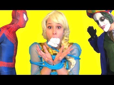FROZEN ELSA IS KIDNAPPED w/ Spiderman Pink Spidergirl Maleficent & Joker...