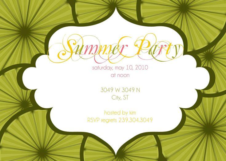 summer party invitation wording samples